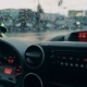 Driving a Car in Traffic Jam in Bad Weather Conditions. Hand of Man Driving a Car. - VideoHive Item for Sale