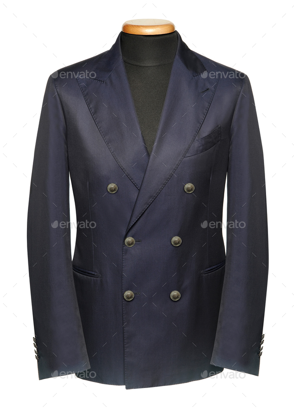 Blue double-breasted jacket on mannequin - Stock Photo - Images