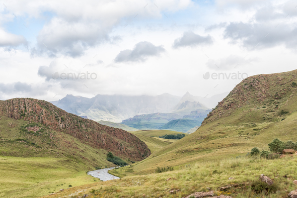 Landscape on P317-road to Garden Castle in Drakensberg - Stock Photo - Images