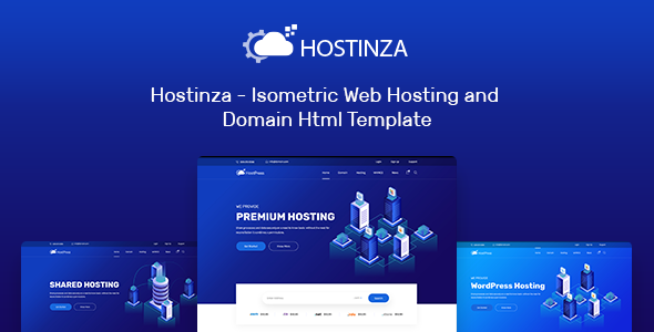 Hostinza – Isometric Web Hosting and Domain Html Template