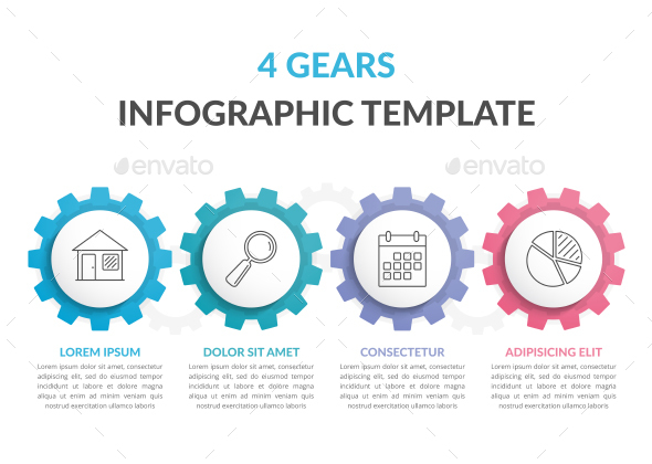 Infographic Template with 4 Gears - Infographics
