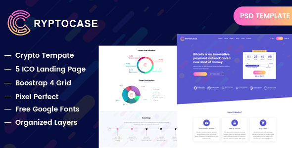 Cryptocash – ICO & Cryptocurrency Landing Page PSD Template