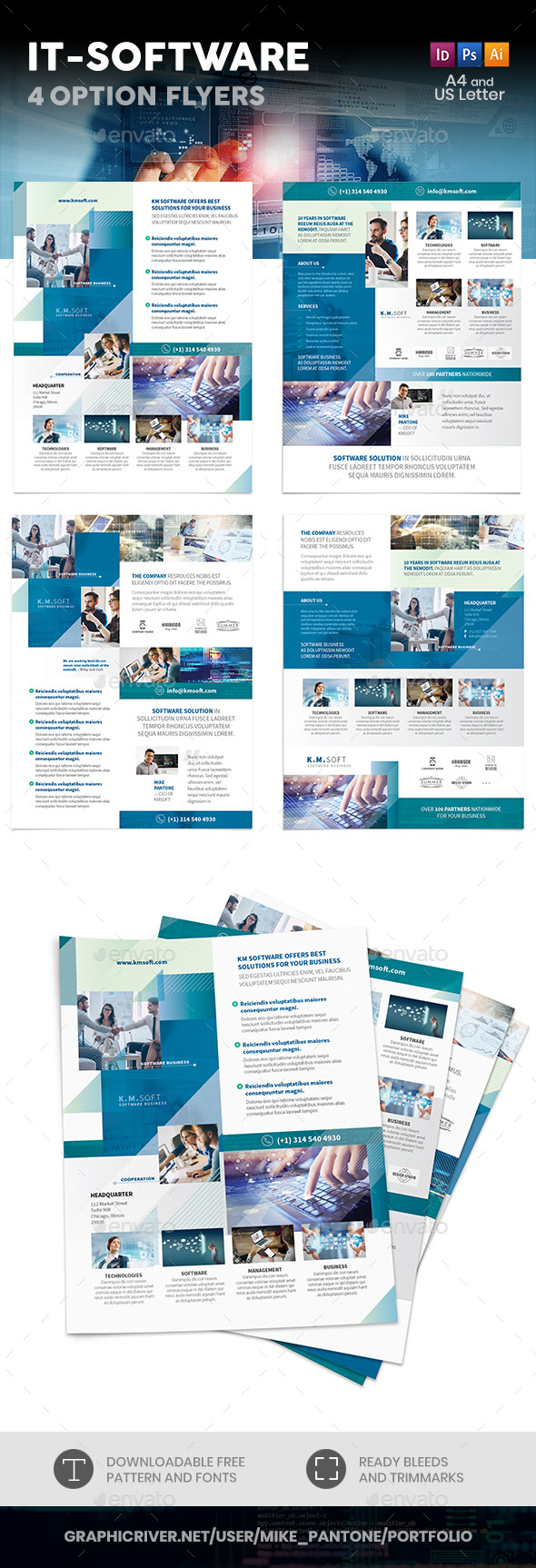 IT – Software Company Flyers – 4 Options - Corporate Flyers
