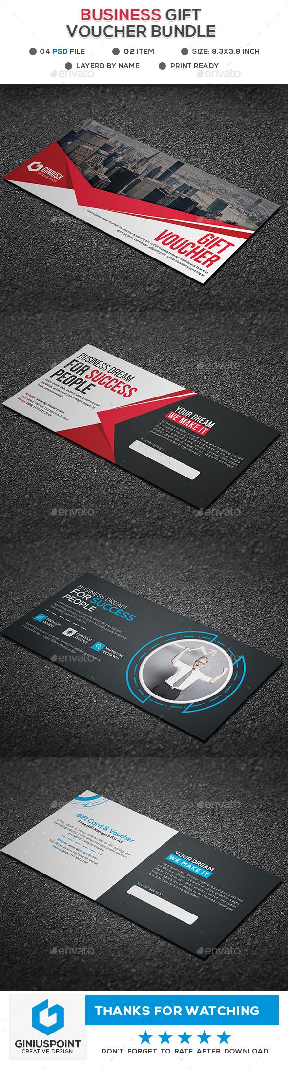Business Gift Voucher Bundle - Cards & Invites Print Templates