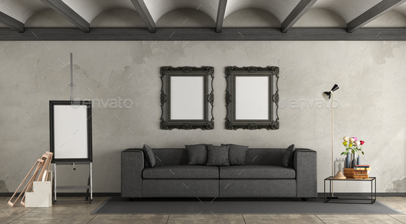 Retro living room with modern sofa - Stock Photo - Images