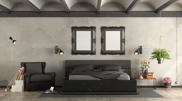 Black master bederoom - Stock Photo - Images