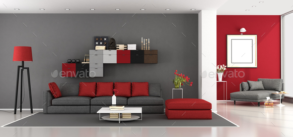 Red and gray modern living room - Stock Photo - Images