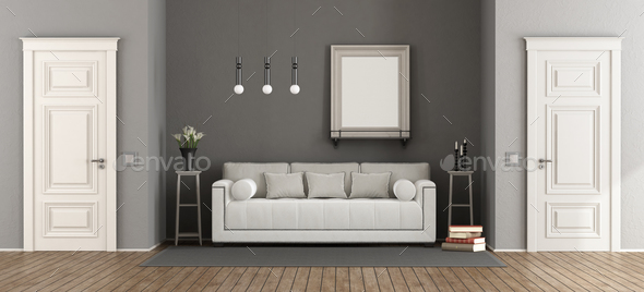 White and gray classic living room - Stock Photo - Images