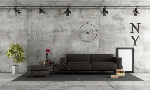 Concrete room with leather sofa - Stock Photo - Images
