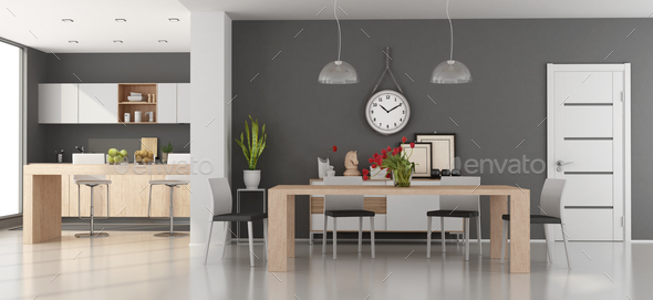 Modern dining room with kitchen - Stock Photo - Images