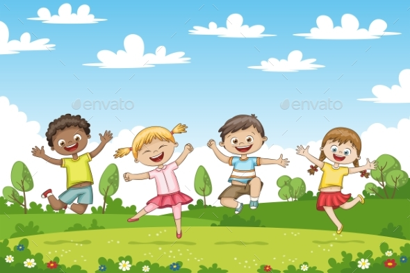 Happy Jumping Children - People Characters