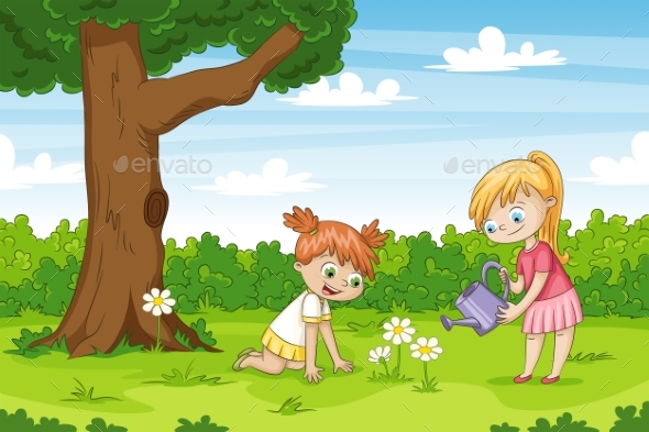 Two Girls in The Garden - People Characters