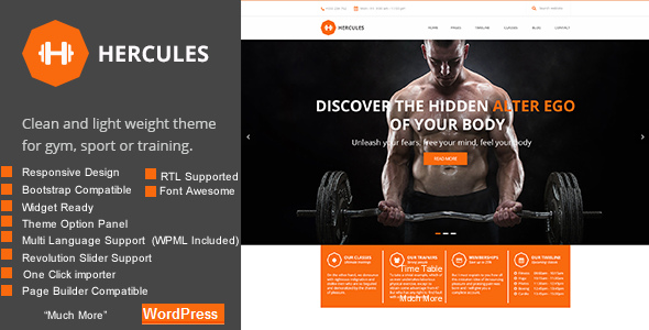 Gym Hercules Gym Fitness WordPress Theme RTL