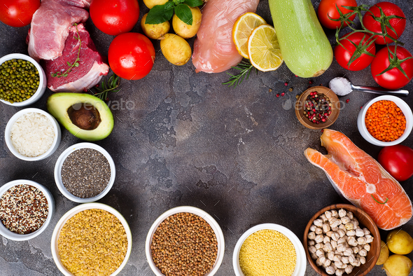 Healthy food eating сertain Protein Prevents Cancer: fish, meat, spice, vegetable, cereal - Stock Photo - Images