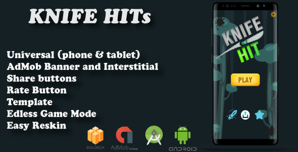 Knife Hitts Buildbox (BBDOC + Android Studio +Admob) - CodeCanyon Item for Sale