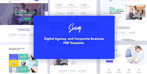 Smug Digital Agency, Marketing & Corporate Business PSD Template