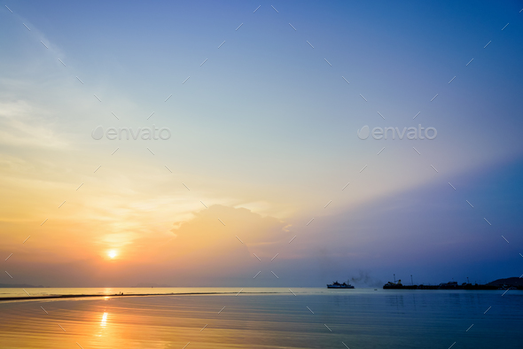 Sunset at Nathon Beach Viewpoint - Stock Photo - Images