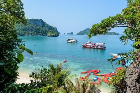 Travel boat at Koh Mae Ko - Stock Photo - Images