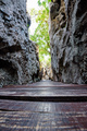 Wooden bridge in the narrow gorge