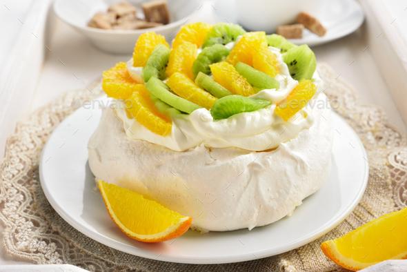 Pavlova meringue cake - Stock Photo - Images