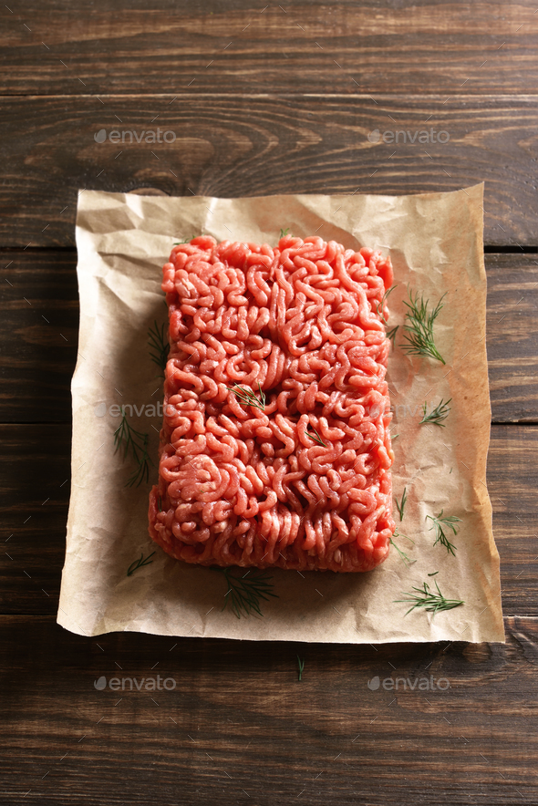 Minced meat on paper - Stock Photo - Images
