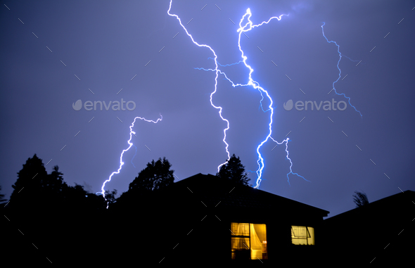 Rooftop Lightning Strikes - Stock Photo - Images