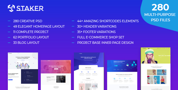 Staker – Creative Multi-Purpose PSD Template