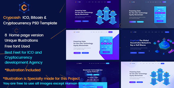 Crypcash - ICO, Bitcoin and Cryptocurrency Landing Page - Technology PSD Templates