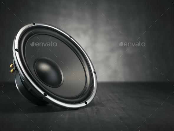 Loudspeaker.  Multimedia acoustic sound speaker on black backgro - Stock Photo - Images