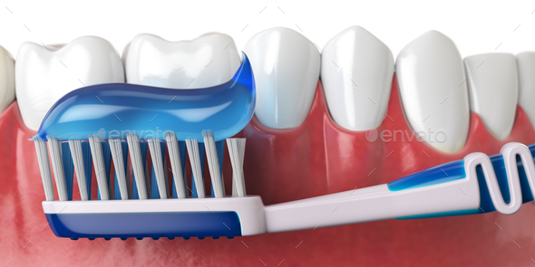 Human teeth and toothbrush with toothpaste. Oral hygiene concept - Stock Photo - Images