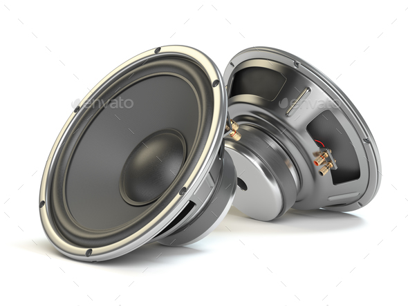 Sound speakers. Multimedia acoustic loudspeakers isolated on whi - Stock Photo - Images