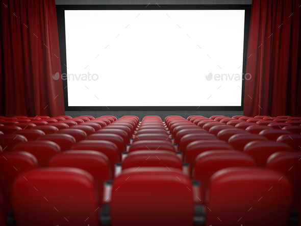 Movie theater with cinema blank screen and rows of red seats. - Stock Photo - Images