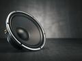 Loudspeaker.  Multimedia acoustic sound speaker on black backgro
