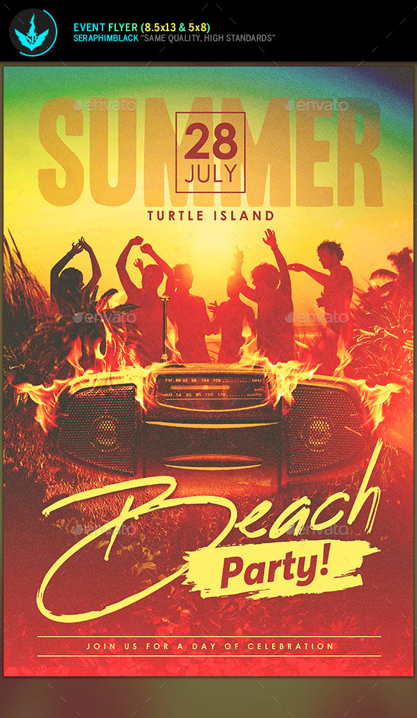 Summer Beach Party Flyer Template By Seraphimblack Graphicriver