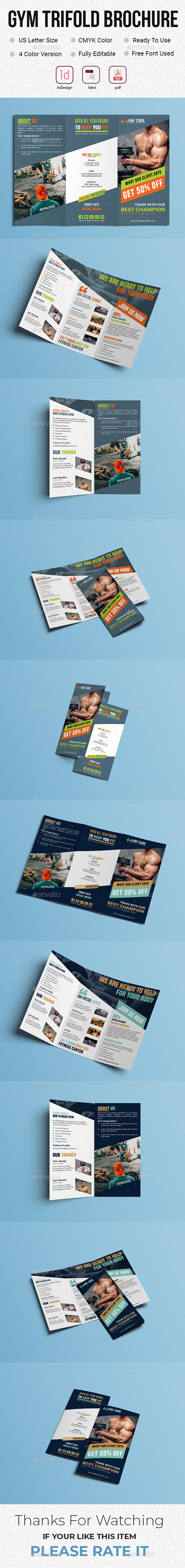 Gym Trifold Brochure - Brochures Print Templates