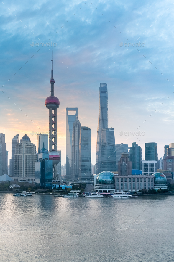 shanghai cityscape closeup in morning - Stock Photo - Images