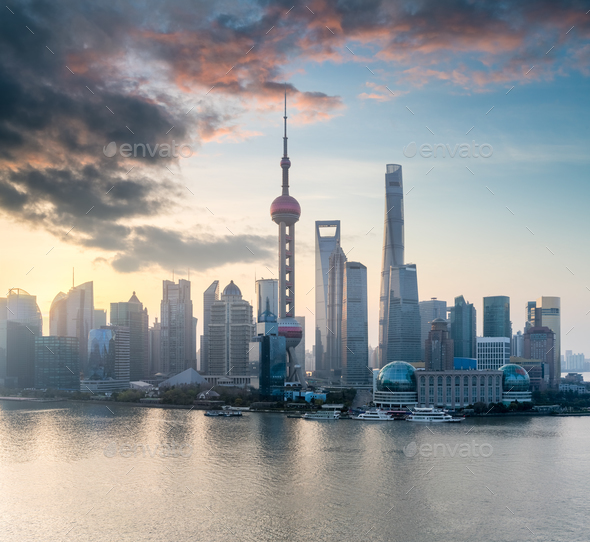 shanghai cityscape with morning glow - Stock Photo - Images