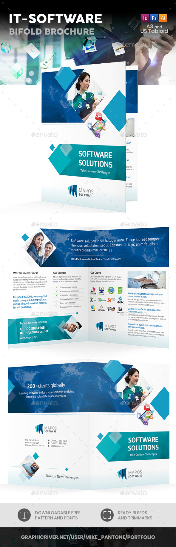 IT – Software Bifold / Halffold Brochure - Informational Brochures