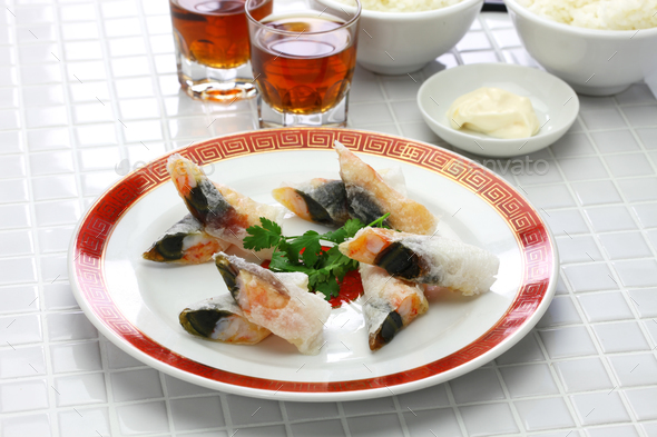 wafer prawn rolls with century egg - Stock Photo - Images