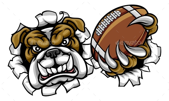 Bulldog American Football Sports Mascot - Sports/Activity Conceptual