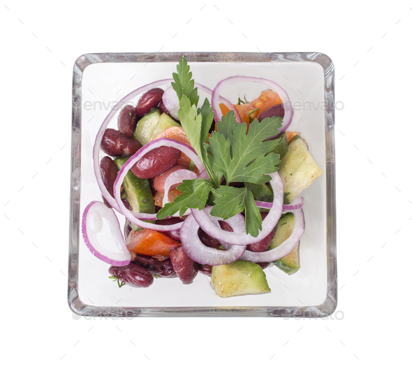 Vegetable salad with red beans. - Stock Photo - Images