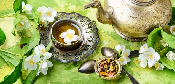 East tea jasmine flowers - Stock Photo - Images