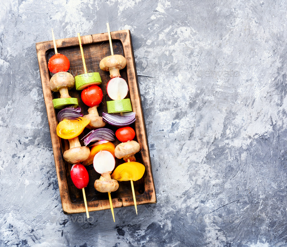 Kebabs,vegetables on skewer - Stock Photo - Images
