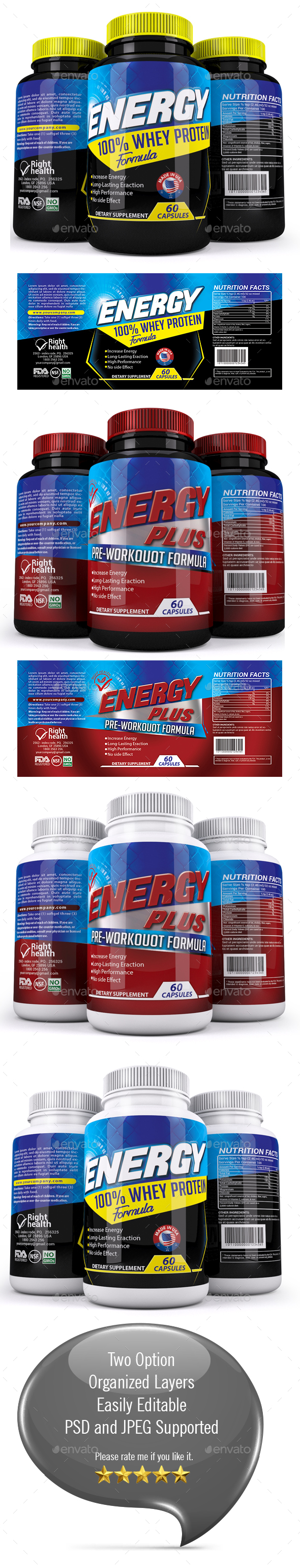 Whey Protein  Supplement Label Template Vol-37