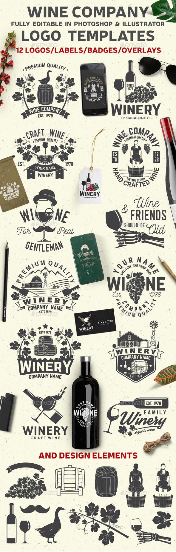 Wine Company Templates - Badges & Stickers Web Elements