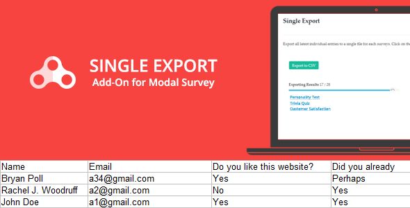Single Export - Modal Survey Add-on - CodeCanyon Item for Sale