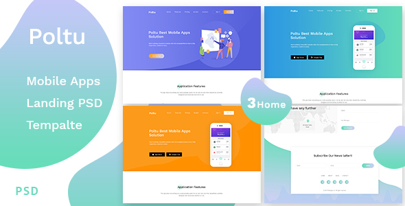 Poltu - Mobile App Landing PSD Template - Creative PSD Templates