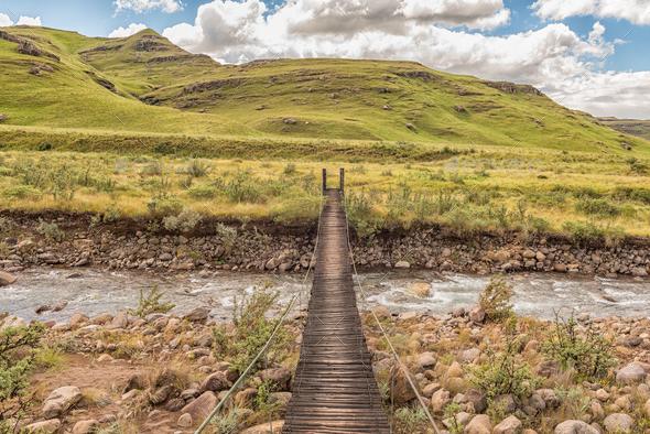 Pedestrian bridge over the Mlambonja River at  Garden Castle - Stock Photo - Images