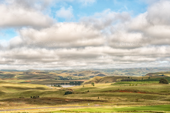Farm landscape on the R617-road between Underberg and Kokstad - Stock Photo - Images