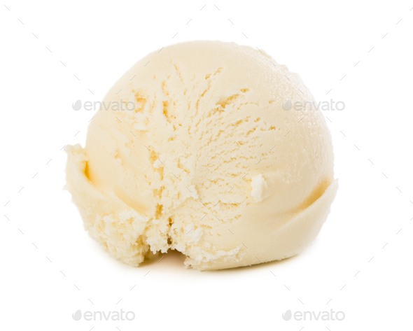 Ball of vanilla ice cream isolated on white - Stock Photo - Images